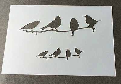 4 Birds on branch Mylar Reusable Stencil Airbrush Painting Art DIY Home