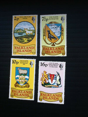 1975 Falkland Islands set of four stamps Heraldic Arms Mint NH Sc# 241-244 L4894