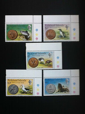 1975 Falkland Islands, set of 5 Stamp, New Coinage  #245-249 Mint NH,