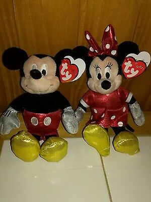 TY Sparkle Disney beanie babies Mickey and Minnie Mouse set