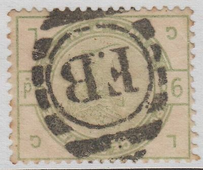 "GB QV 9d Dull Green SG195Wi CV=£775 Sideways Inverted Watermark ""GL"" Used 1883"