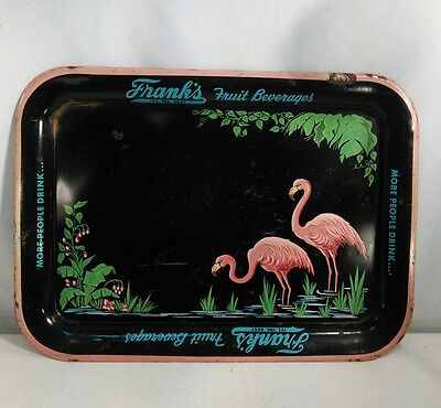 Vtg 50's Metal Bar Serving Tray FRANK'S Fruit Beverage Flamingo Beach Ocean deco