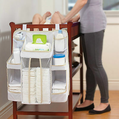 Baby Nursery Organizer Diaper Caddy Storage Portable White Bag Lotions Wipes NEW