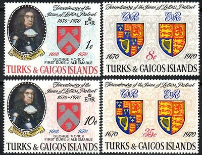 (Ref-10784) Turks & Caicos Islands 1970 Issue of Letters Patent SG.329/332 MNH
