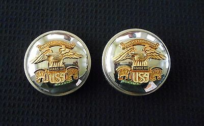 SET OF 2 HARLEY DAVIDSON CHROME GAS CAPS 1979 FLH Fatbob Tanks USA Eagle Custom