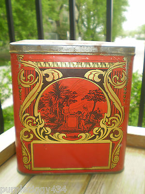 Collectible Vintage Tin ~ Very Interesting Graphics ~ Hinged Lid ~Vintage