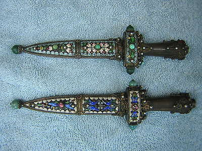 Antique Russian Austrian Enameled Jeweled Sterling Silver Dagger Letter Openers