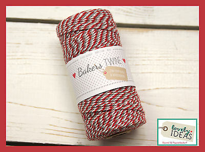 (0.09€/m) Baker's Twine RED/GRAY/WHITE 90m Roll Bakers Cord Craft cord