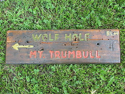 1940-50s U.S. Dept Of INTERIOR Wooden SIGN From ARIZONA - Mt. TRUMBULL Wolf HOLE