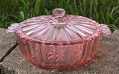 *fortune Pink Covered Flat Candy Dish Anchor Hocking-B6-E