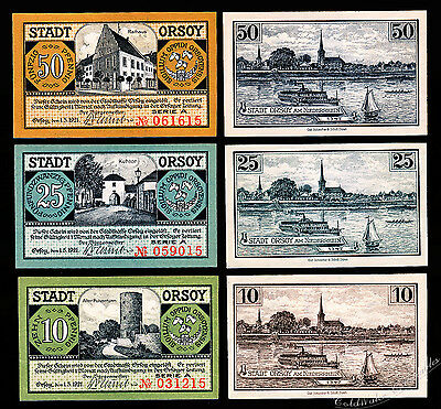 Orsoy Notgeld / 1921 / Complete Set, Three Notes - UNC -