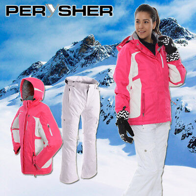 PERYSHER Womens Snowboard / Ski Suit: Racer V2 Jacket & Liberty Pants - Rose Pin