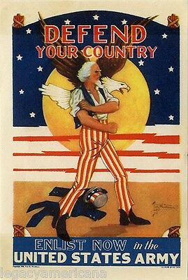 Graphic 1940 Uncle Sam DEFEND YOUR COUNTRY Army Recruitment Sticker (4907)