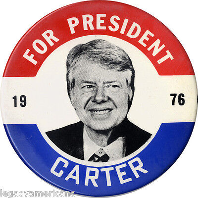 JUMBO Size 1976 Jimmy Carter for President 6-in. Button / Wall Plaque (4061)