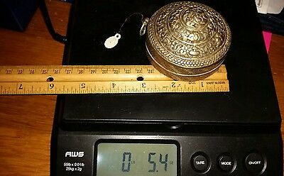 Antique Old vintage Tibetan FINEST Heavy Repousse Silver Alloy Buddhist Box lime