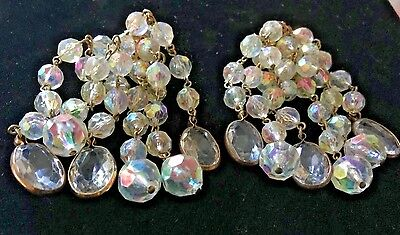 "A/B Plastic Crystal Dangle Earrings --3 1/2""--Clips--Very Sparkly & Light..(A25"