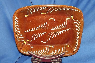 Antique Redware Trencher 121/2 By 10 Inch Slip Glazed Brown Yellow One Rim Chip