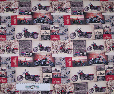 Quilting Patchwork Sewing Fabric MOTORCYCLE HARLEY Allover Cotton 50x55cmFQ NEW