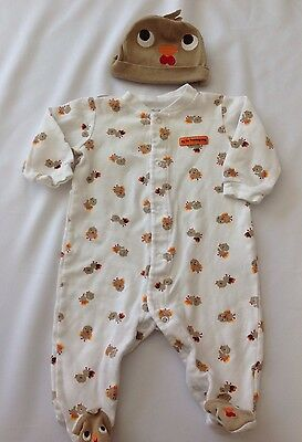 Carters Unisex Boy Girl  6 mnth 2 Piece Outfit Footed Sleeper & Hat Thanksgiving