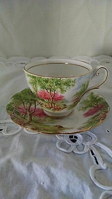 "Fine Bone China Footed Cup & Saucer England Royal Standard ""Spring's Gift"""