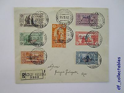 Colonies Italy Aegean Rodi registered mail cover St. Anthony Padua complete set