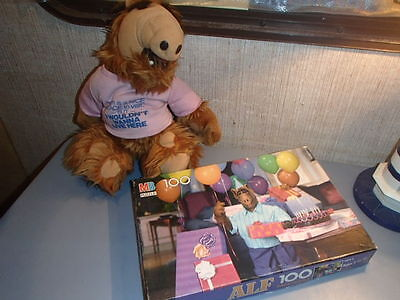 Vintage/ALIEN PRODUCTIONS 1988 Stuffed ALF & Milton Bradley BIRTHDAY Puzzle 100