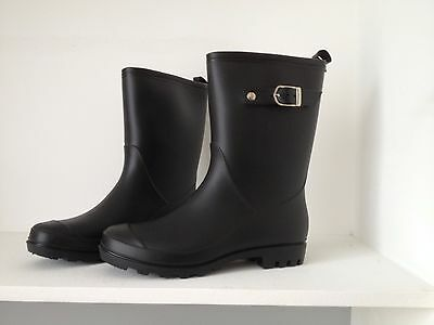 Gumboots Ladies Mid Length Black Size 5 6 7 8 9 10 11 Buckle Wellies Women New
