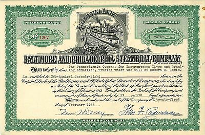 Baltimore and Philadelphia Steamboat Co   1933 Maryland old stock certificate