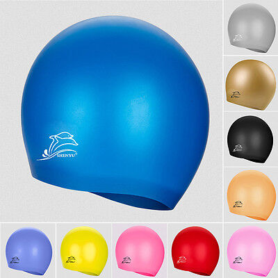 Kids Adults Silicone Swimming Cap Swim Beach Bathing Hat Water Sports Waterproof
