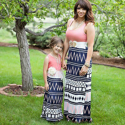 Boho Baby Toddler Girl Kid Sleeveless Maxi Dress Casual Women Long Party Dresses