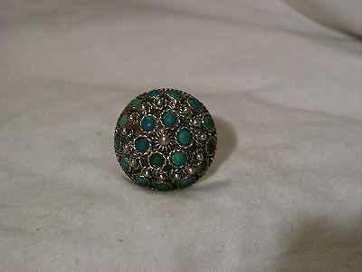 ...Vintage/Antique Sterling Silver,Turquoise Dome Ring...