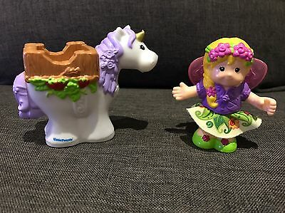 Fisher-Price Little People Bendable Fairy Sarah Lynn And White Unicorn EXC