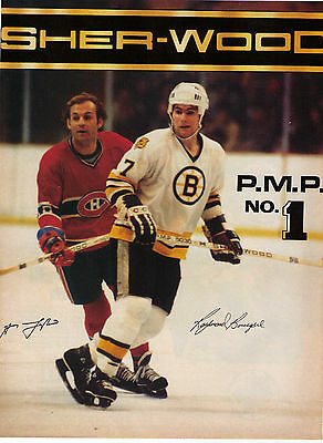 """Vintage 1980 Guy Lafleur/Ray Bourque Sher-Wood Hockey Stick"""" Print Advertisment"""