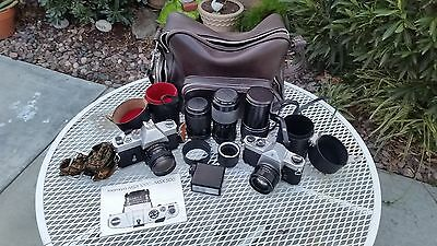 2-35mm cameras in working order.  Pentax & Mamiya and many Accessories.