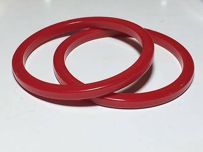 Vintage cherry red spacer bakelite bangles. simichrome tested