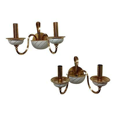 Elegant F Fabbian Italian Brass & Ceramic Sconces - Pair