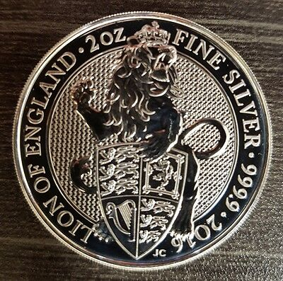 Queens Beast The Lion 2 oz 999.9 Fine Silver. British Royal Mint Coin