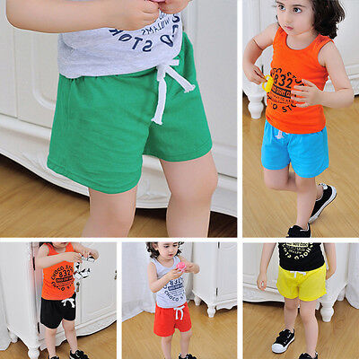 Toddler Baby Kids Boys Girl Lacing Elastic Casual Cotton Beach Gym Shorts Pants