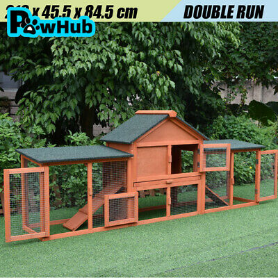 XL Large Wooden Rabbit Hutch Chicken Hen Coop Ferret cage Twin Houses
