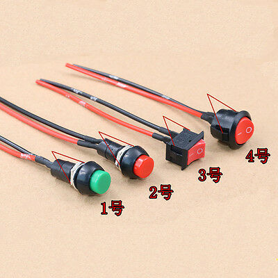 5pc Car circuit Wire Horn switch Normally Open/Closed Lighted Push Button Switch