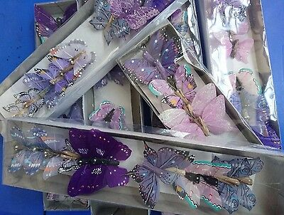 12 Lilac Feather Butterflies, assorted designs, weddings, cakes, crafts