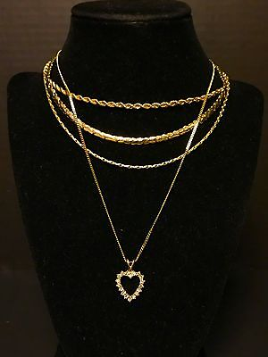 4 Preowned Yellow Gold Kids Children's Necklaces A+ Condition Jewelry Pieces Lot