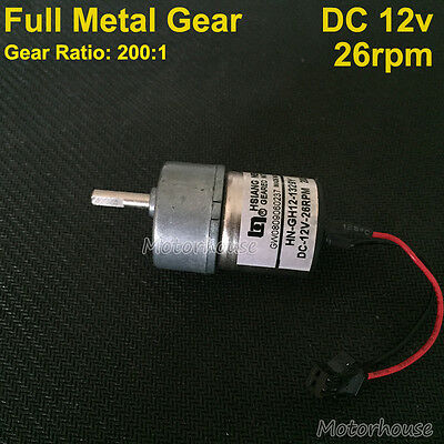DC 5v~18v 9V 12V 26RPM Slow Speed Large Torque Micro full Metal Gear Motor