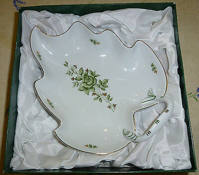 "Hollohaza Hungary Leaf Serving Dish, 8"" Serving Plate with Handle, New In Box"