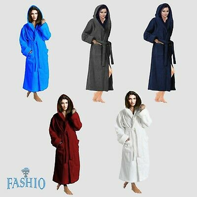 Skylinewears Women's 100% Terry Cotton Hooded Bathrobe Toweling Robe