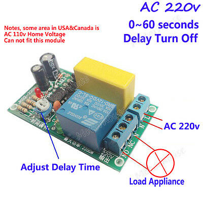 AC 240V 0~60s Delay time Relay Switch Delay turn off timer Module Stair Lamp