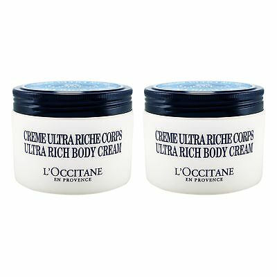 2 x L'Occitane Shea Butter Ultra Rich Body Cream 200ml Bath Mosituring Hydration
