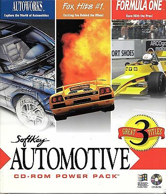 Retro game PC CD softkey automotive power pack 3 titles car racing F1 c.1995