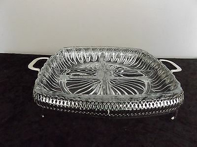 Divided square glass serving plate with metal surround