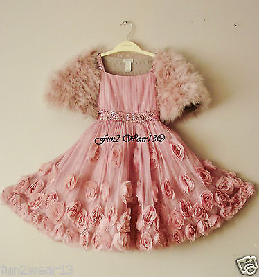 BNWT MONSOON GIRLS PINK ROSIA SEQUIN SPARKLE CASCADE TULLE ROSE PARTY DRESS 7 Yr